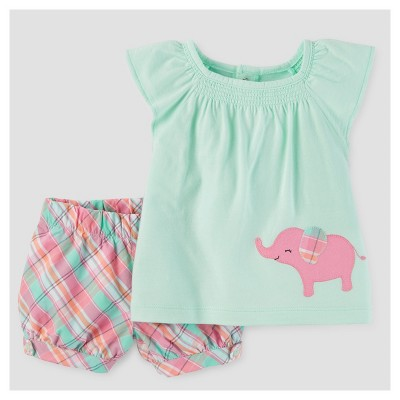Baby Girls' 2pc Elephant/Plaid Tunic Set - Just One You™ Made by Carter's® Mint NB