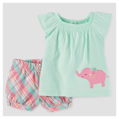 Baby Girls' 2pc Elephant/Plaid Tunic Set - Just One You™ Made by Carter's® Mint 3M