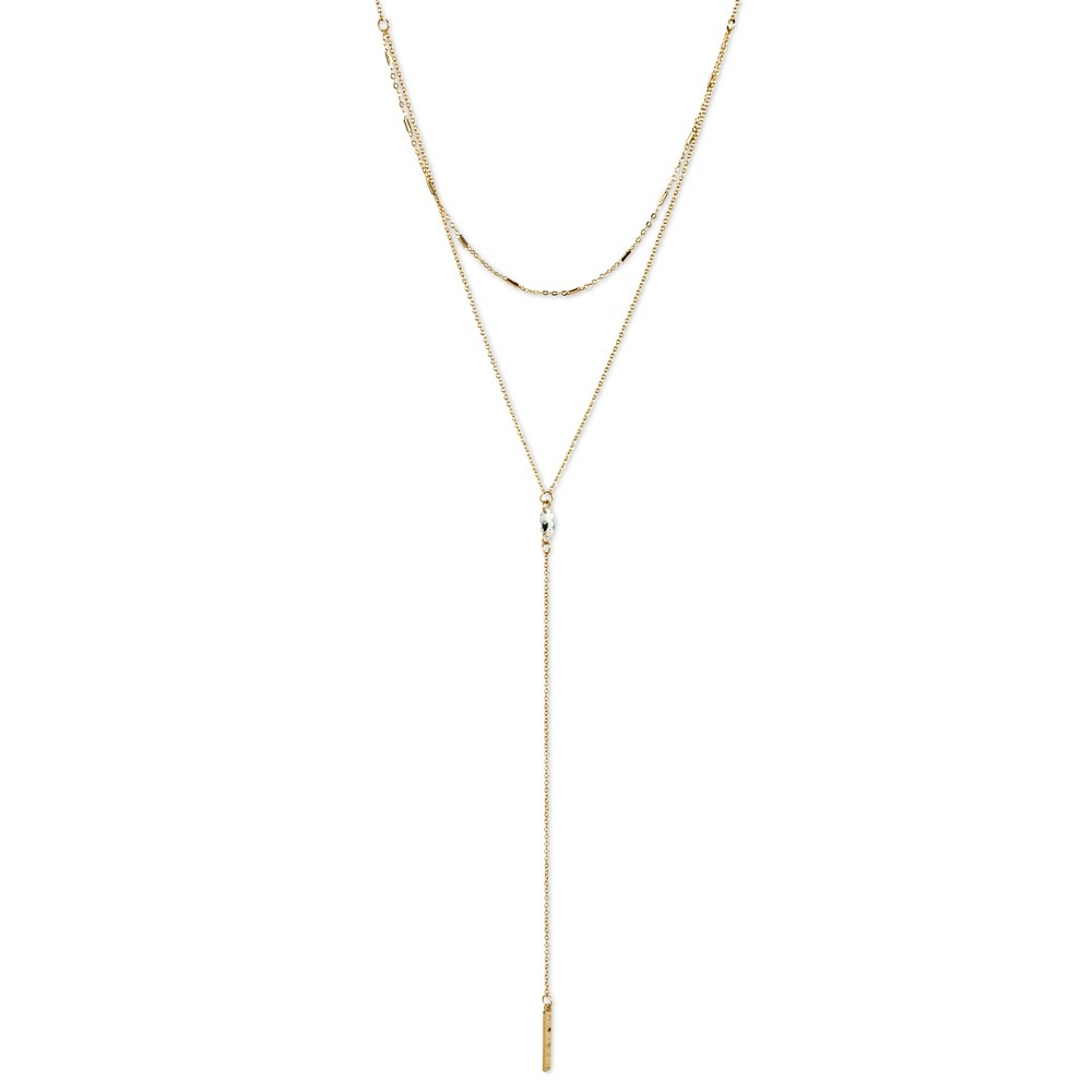 Women's Y Necklace with Cubic Zirconia & Bar – Gold (16)