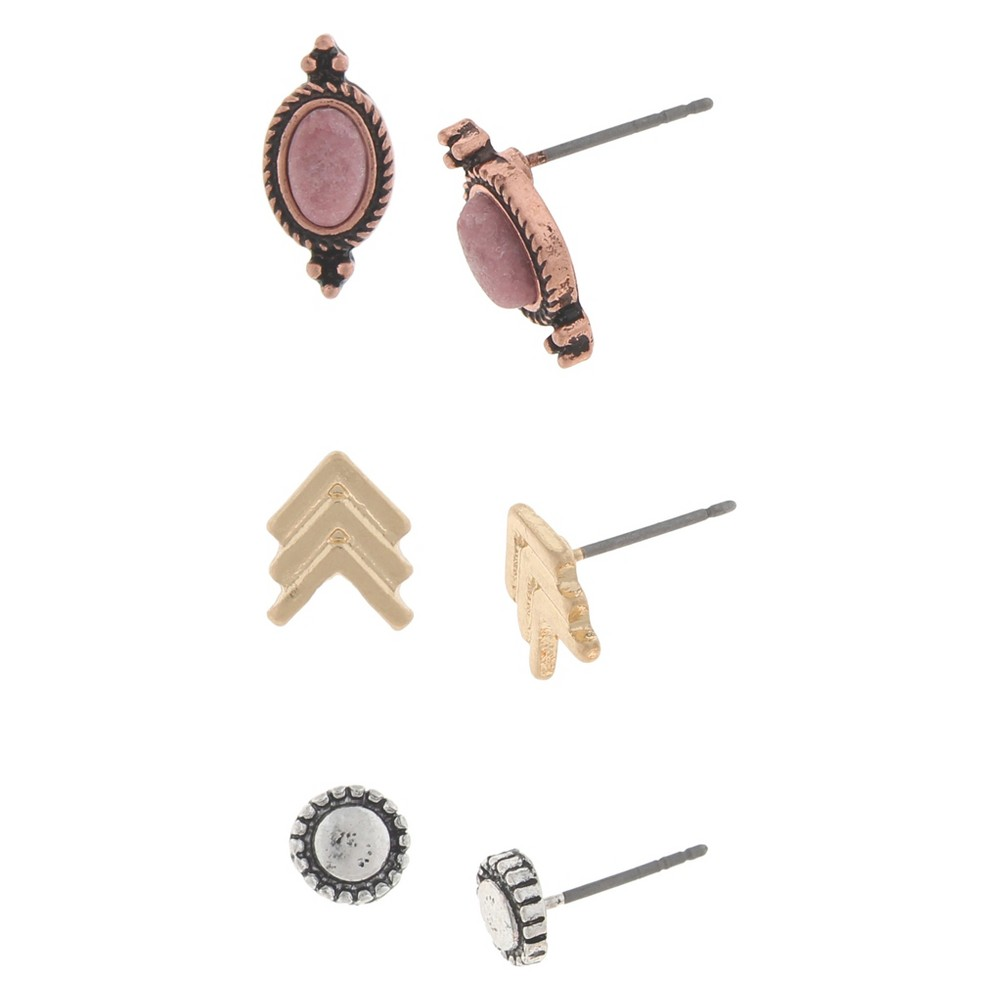 Womens Earring Trio with Round, Triple Arrow and Oval Castings, Multi-Colored
