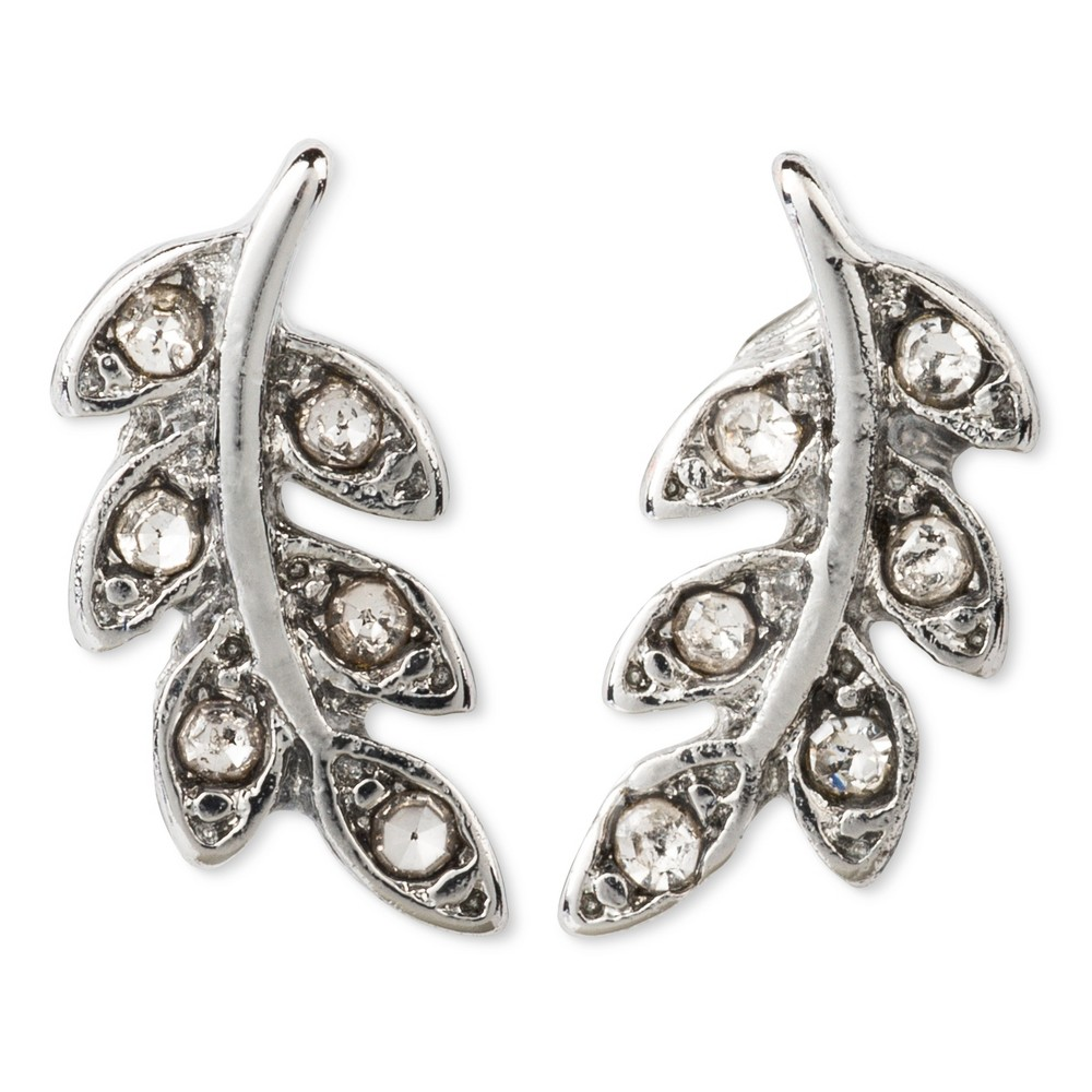 Small Leaf Earring with Pave - Silver, Womens