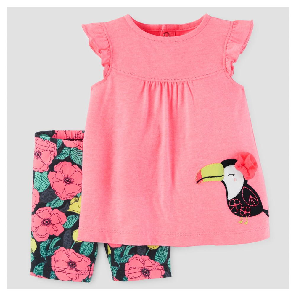 Baby Girls 2pc Toucan/Floral Tunic Set - Just One You Made by Carters Pink 3M, Size: 3 M
