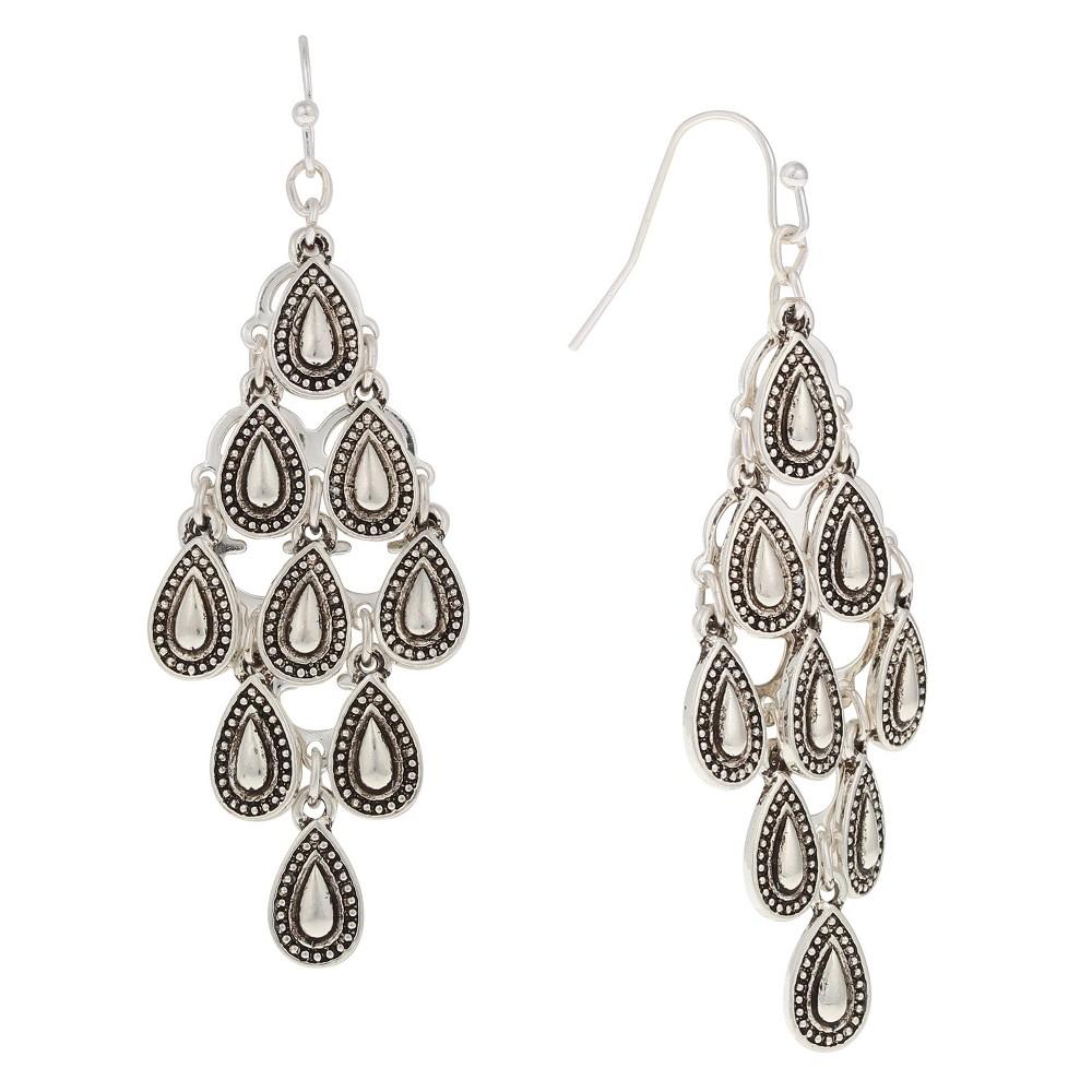 Earring Chandelier Drop with Teardrop Castings - Rhodium, Womens, Silver