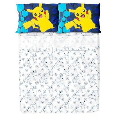 Pokémon® Pikachu White & Blue Sheet Set (Full)4pc