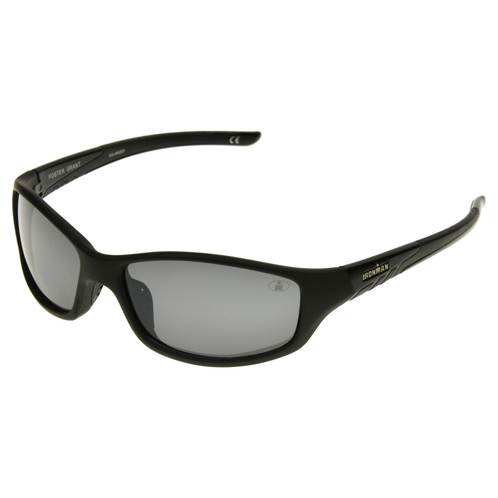 Mens Ironman Polarized Full Frame Scratch and Impact Resistant Performance Sunglasses - Black