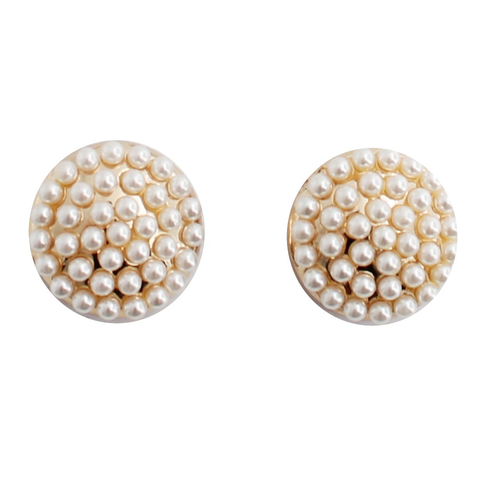 Button Stud Earring - Gold/White, Womens