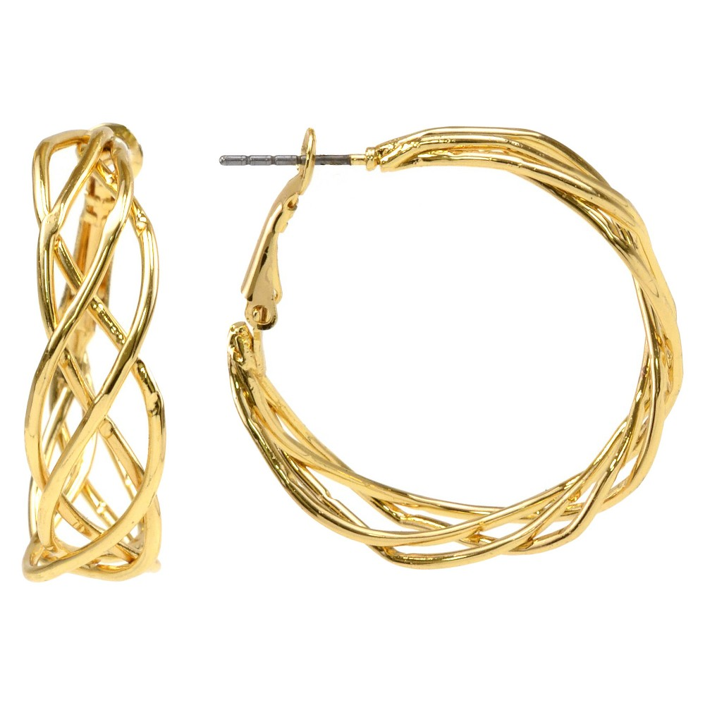 Braided Clutchless Hoop Earring - Gold, Womens