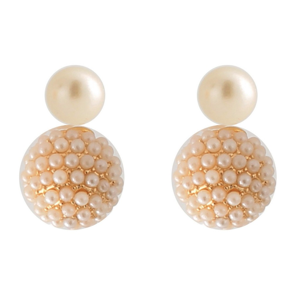 Front/Back Faux Pearl Earring - Gold/White, Womens