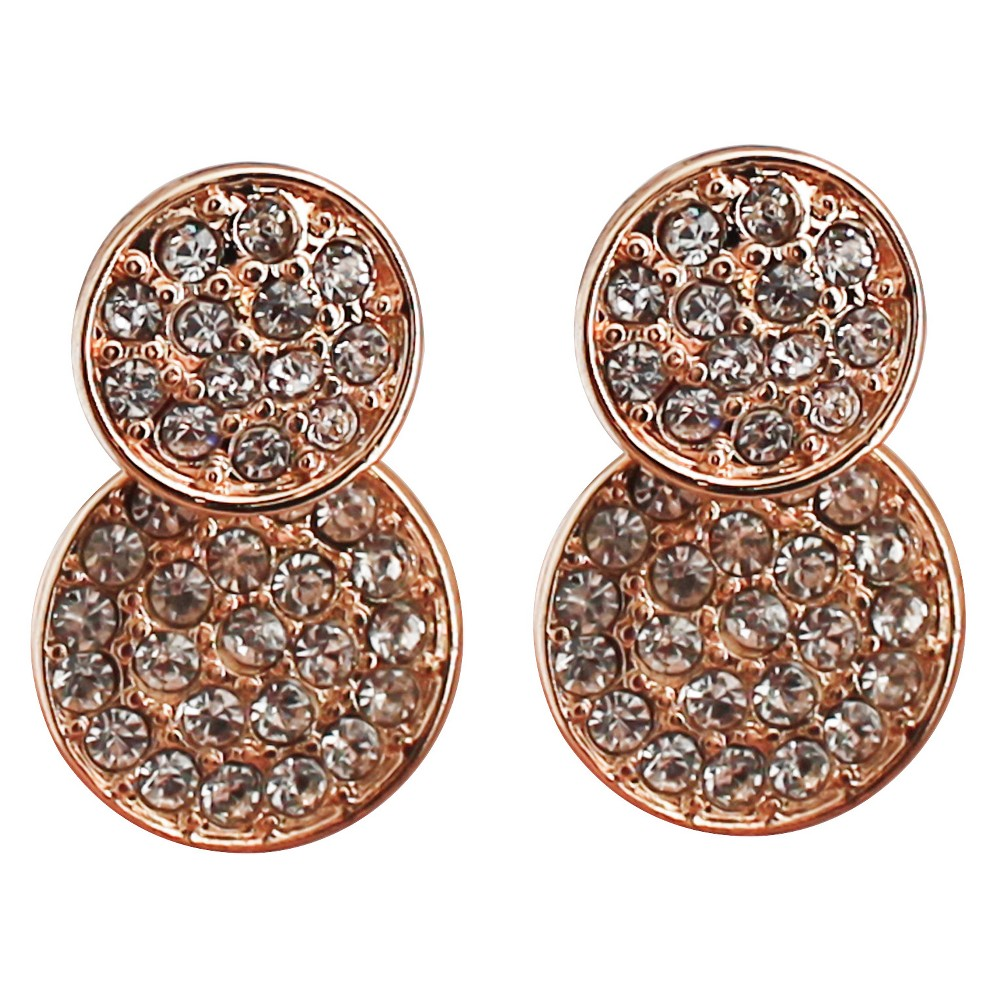 Front/Back Earring with Stones - Gold/Clear, Womens, Silver