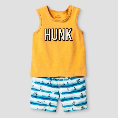 Baby Boys' Hunk Tank and Shorts Set - Cat & Jack™ Blue 6-9 Months