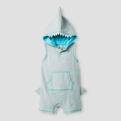Baby Boys' Shark Shorts Romper with Hood Cat & Jack™ - Heather Gray 12 Months