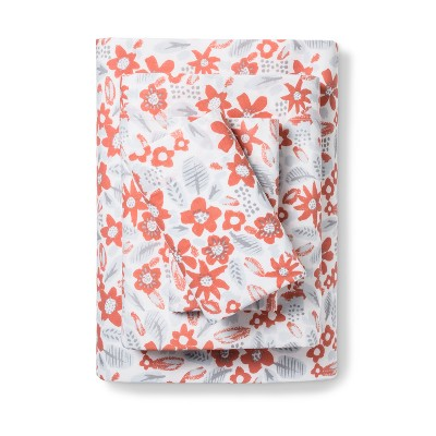 Easy Care Floral Sheet Set (King)Coral - Room Essentials™