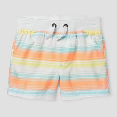 Baby Boys' Pull-On Shorts - Cat & Jack™ Orange Stripe 6-9 Months