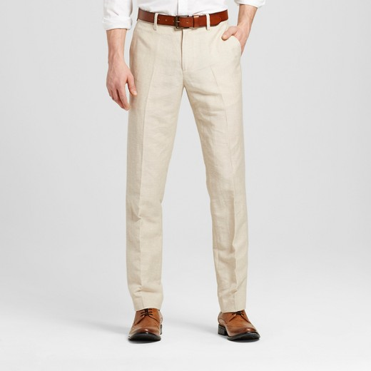 Men's Slim Fit Linen Suit Pants Khaki - Merona™ : Target