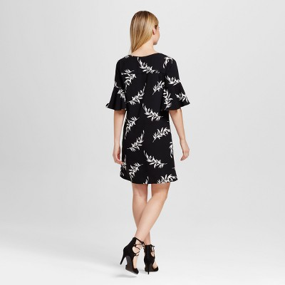 Women's Floral Crepe Flutter Sleeve Dress - Merona Black and Sour Cream L