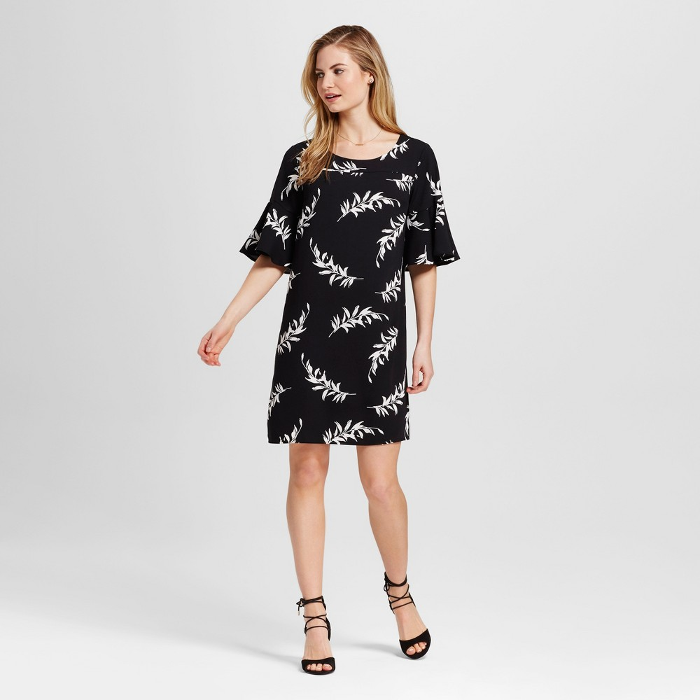 Womens Floral Crepe Flutter Sleeve Dress - Merona Black and Sour Cream S