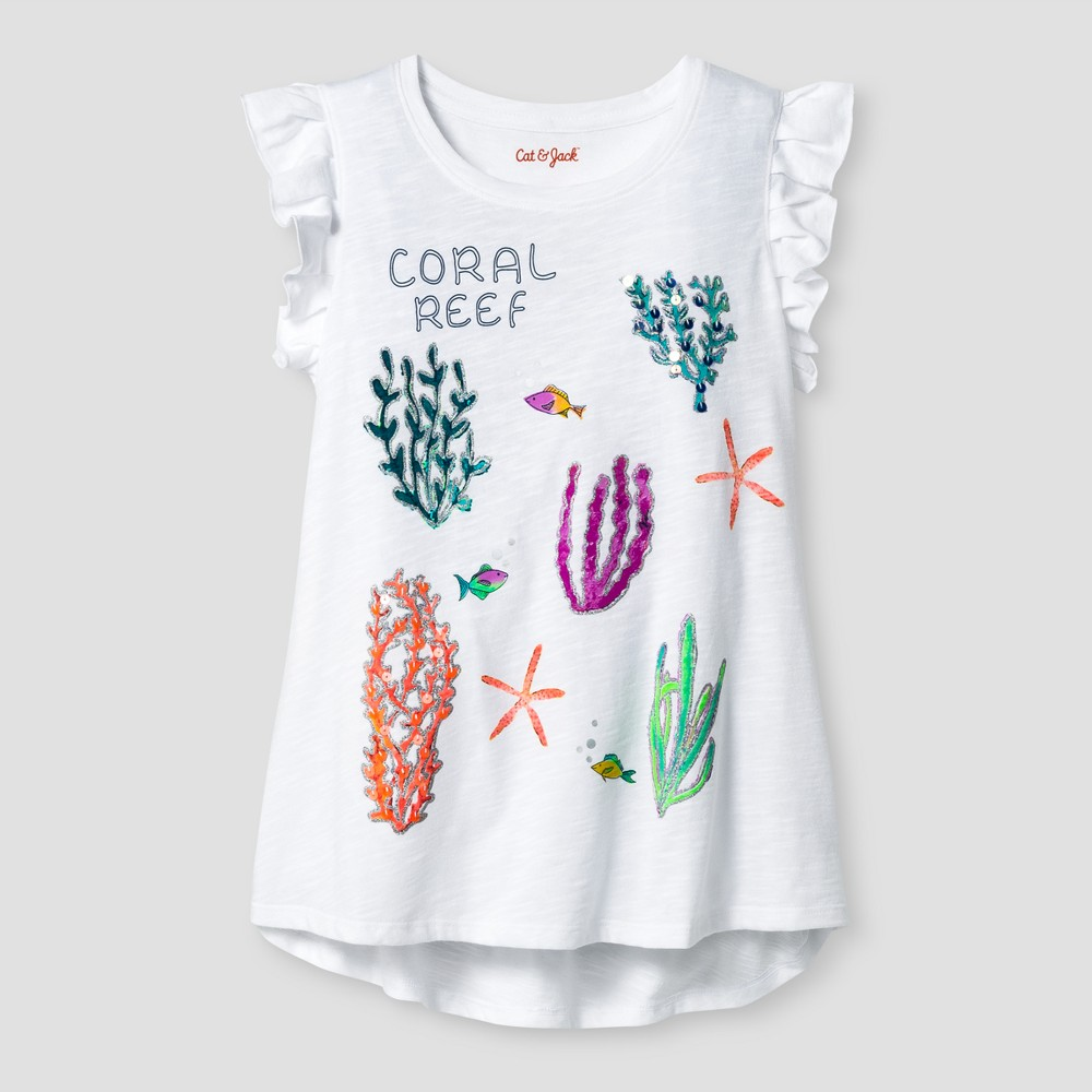 Girls' Coral Reef Graphic Tee - Cat & Jack White XS