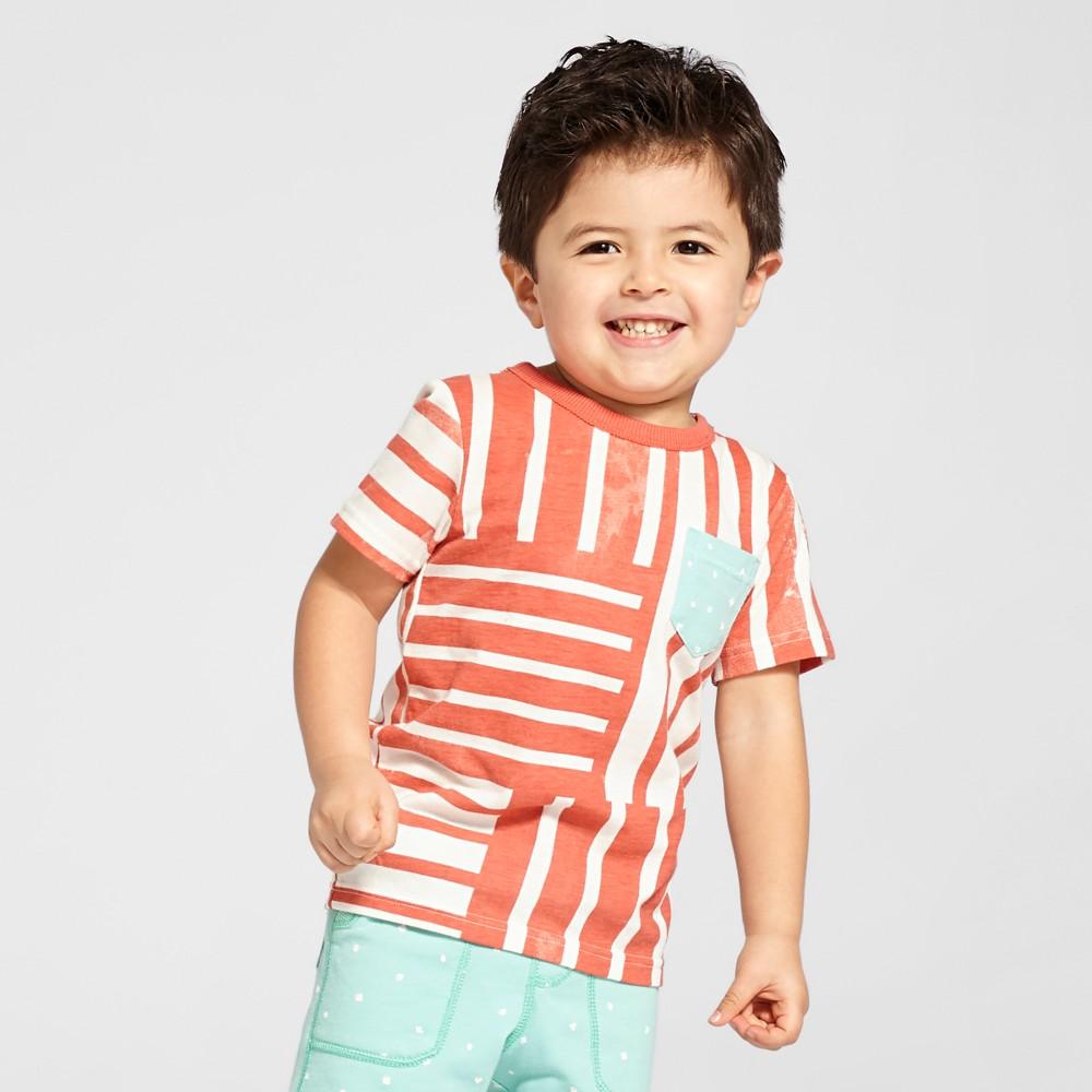 Toddler Boys Reverse Print T-Shirt - Genuine Kids from OshKosh Monarch Orange Opaque 3T, Pink