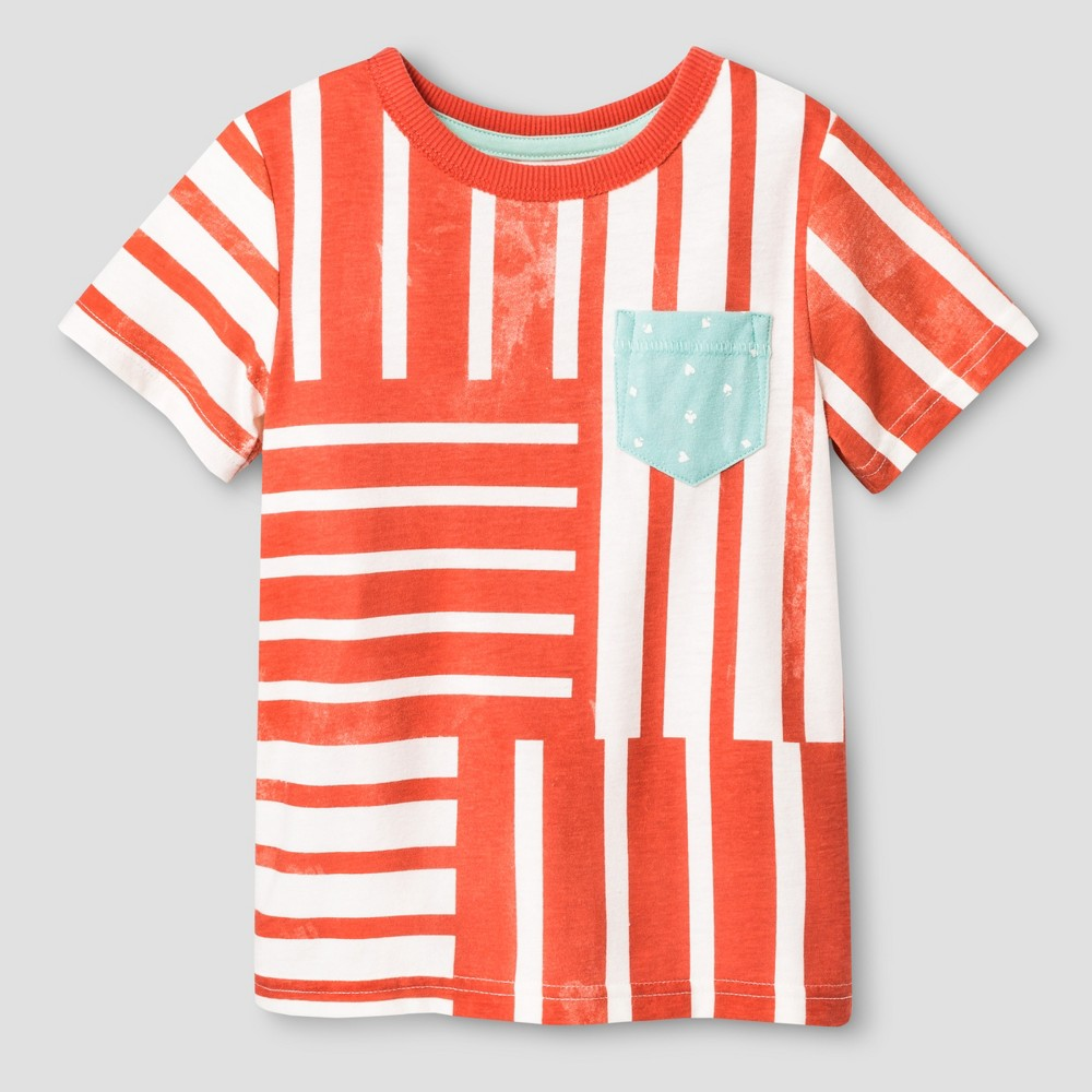 Toddler Boys Reverse Print T-Shirt - Genuine Kids from OshKosh Monarch Orange Opaque 5T, Pink