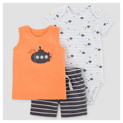 Baby Boys' 3pc Submarine Set - Just One You™ Made by Carter's® Orange NB