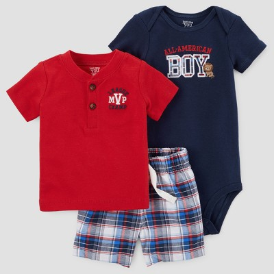 Baby Boys' 3pc All American Boy Set - Just One You™ Made by Carter's Red 3M