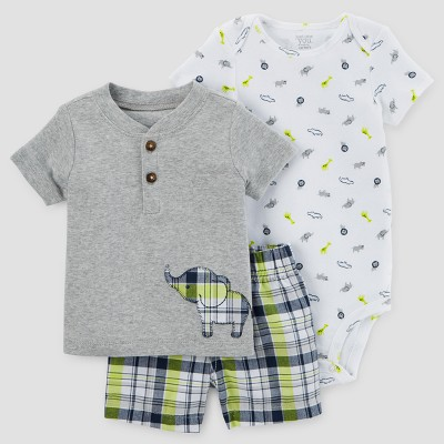 Baby Boys' 3pc Plaid Elephant Set - Just One You™ Made by Carter's® Gray 18M