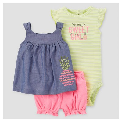 Baby Girls' 3pc Sweet Girl Set - Just One You™ Made by Carter's® Chambray 9M