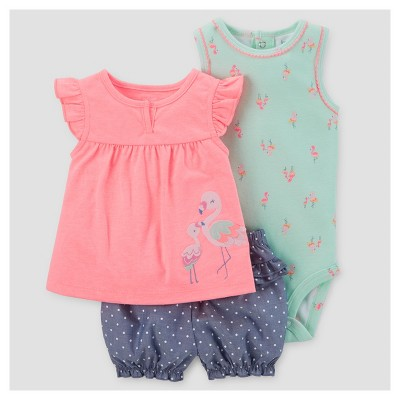 Baby Girls' 3pc Birds/Dot Set - Just One You™ Made by Carter's® Pink NB
