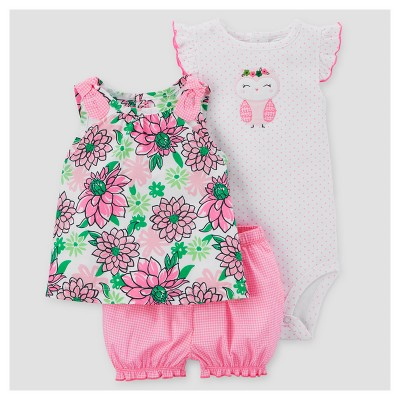 Baby Girls' 3pc Floral Owl Set - Just One You™ Made by Carter's® Pink/Green 3M