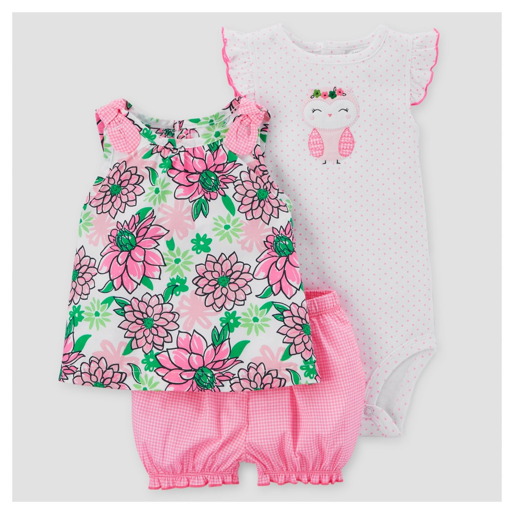 Baby Girls 3pc Floral Owl Set - Just One You Made by Carters Pink/Green 6M, Size: 6 M