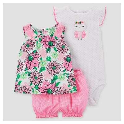 Baby Girls' 3pc Floral Owl Set - Just One You™ Made by Carter's® Pink/Green NB