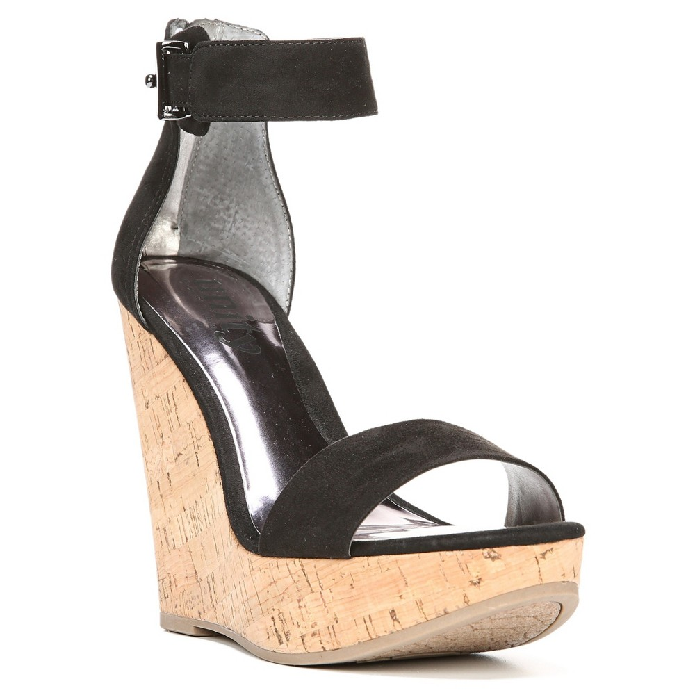 Womens Unity By Carlos Santana Becky Platform Wedge Quarter Strap Sandals - Black 11
