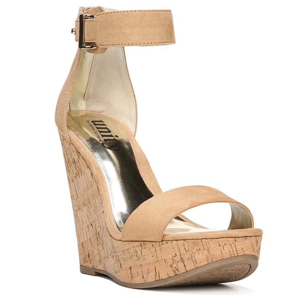 Womens Unity By Carlos Santana Becky Platform Wedge Quarter Strap Sandals - Tan 9.5