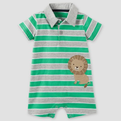 Baby Boys' One Piece Stripe Lion Polo Romper - Just One You™ Made by Carter's® Gray/Green 6M