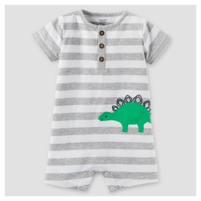 Baby Boys' One Piece Dino Henley Romper - Just One You™ Made by Carter's® Gray/White 9M