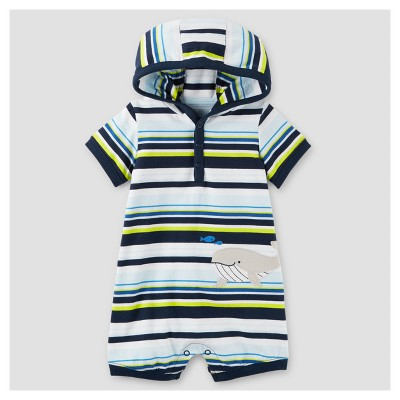 Baby Boys' One Piece Whale Striped Hooded Romper - Just One You™ Made by Carter's® Blue 3M
