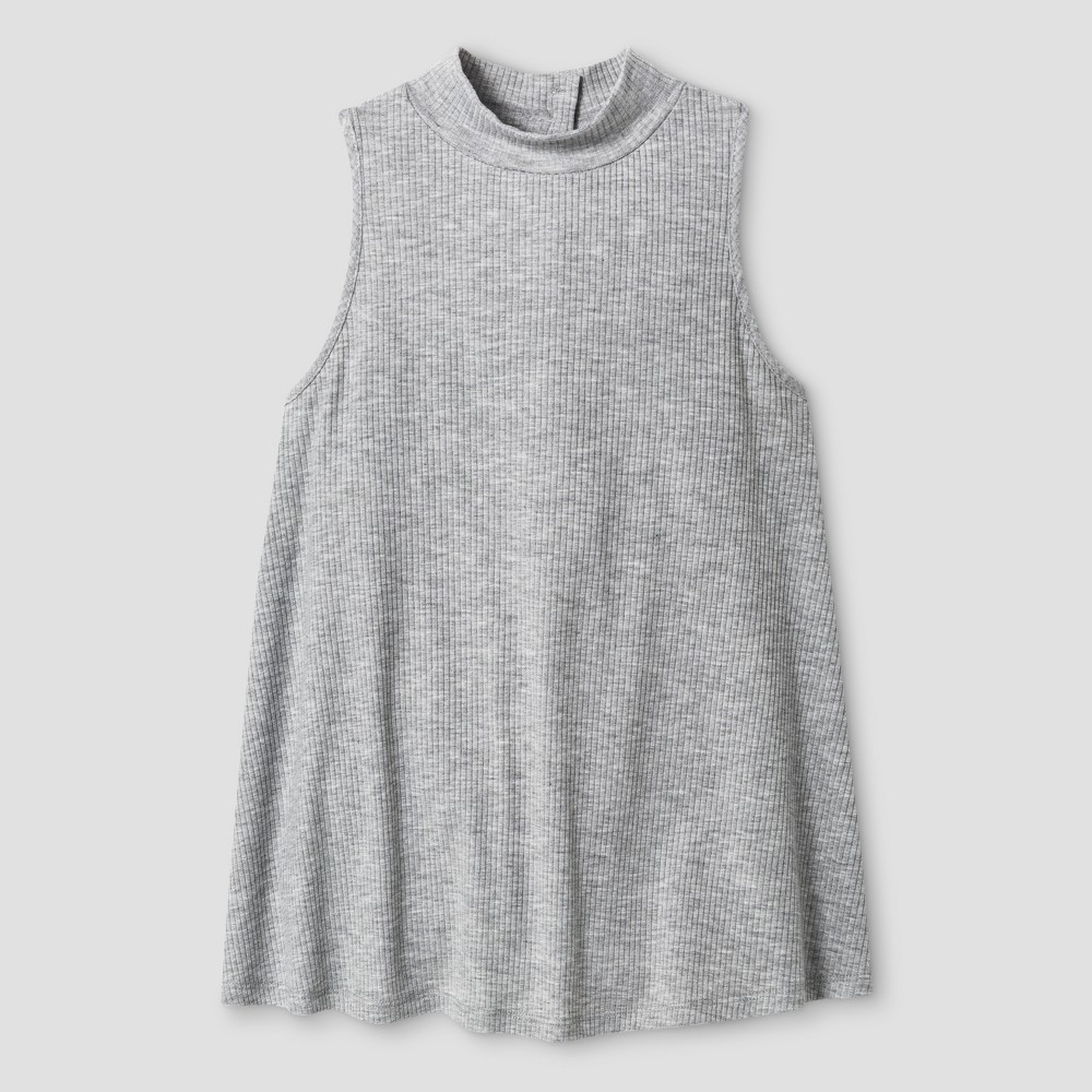 Girls' Ribbed Mock Neck Tank Top Solid Art Class – Grey L, Girl's