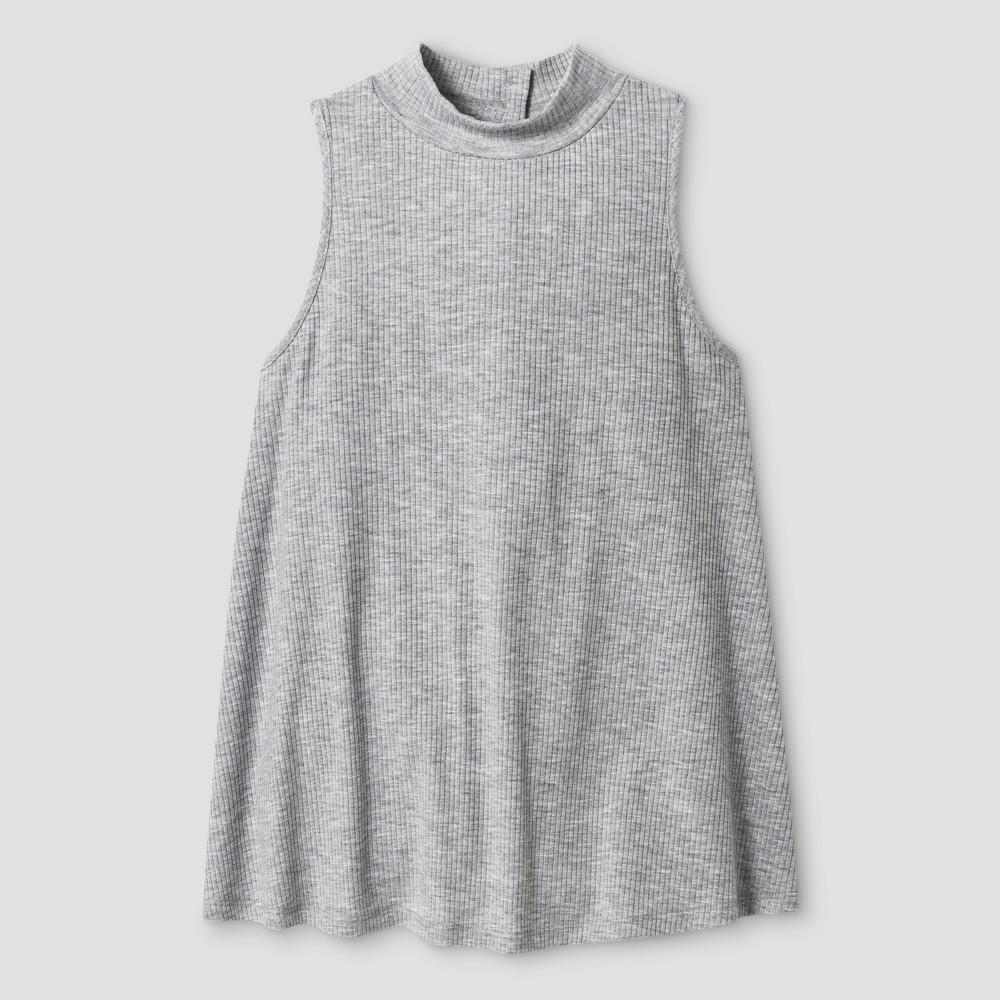Girls' Ribbed Mock Neck Tank Top - Art Class Gray XL