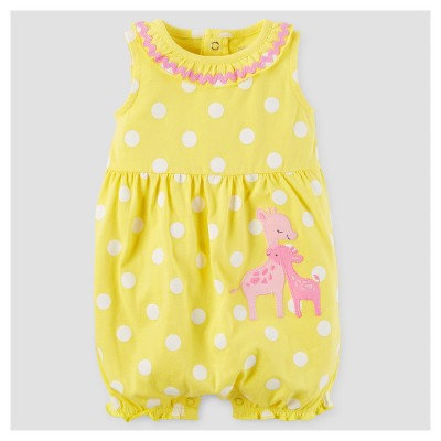 Baby Girls' One Piece Dot Giraffes Romper - Just One You™ Made by Carter's® Yellow 12M