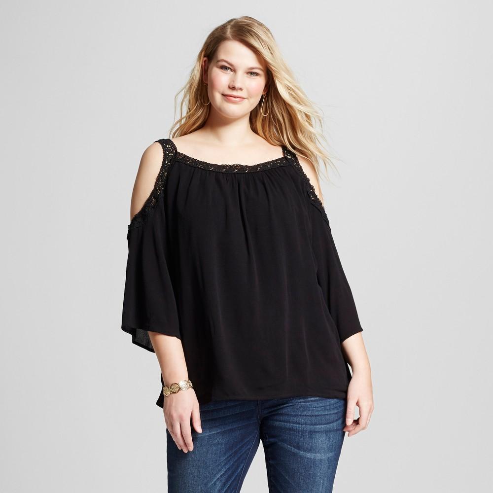 Women's Plus Size Lace Cold Shoulder Top Black 1X – U-Knit