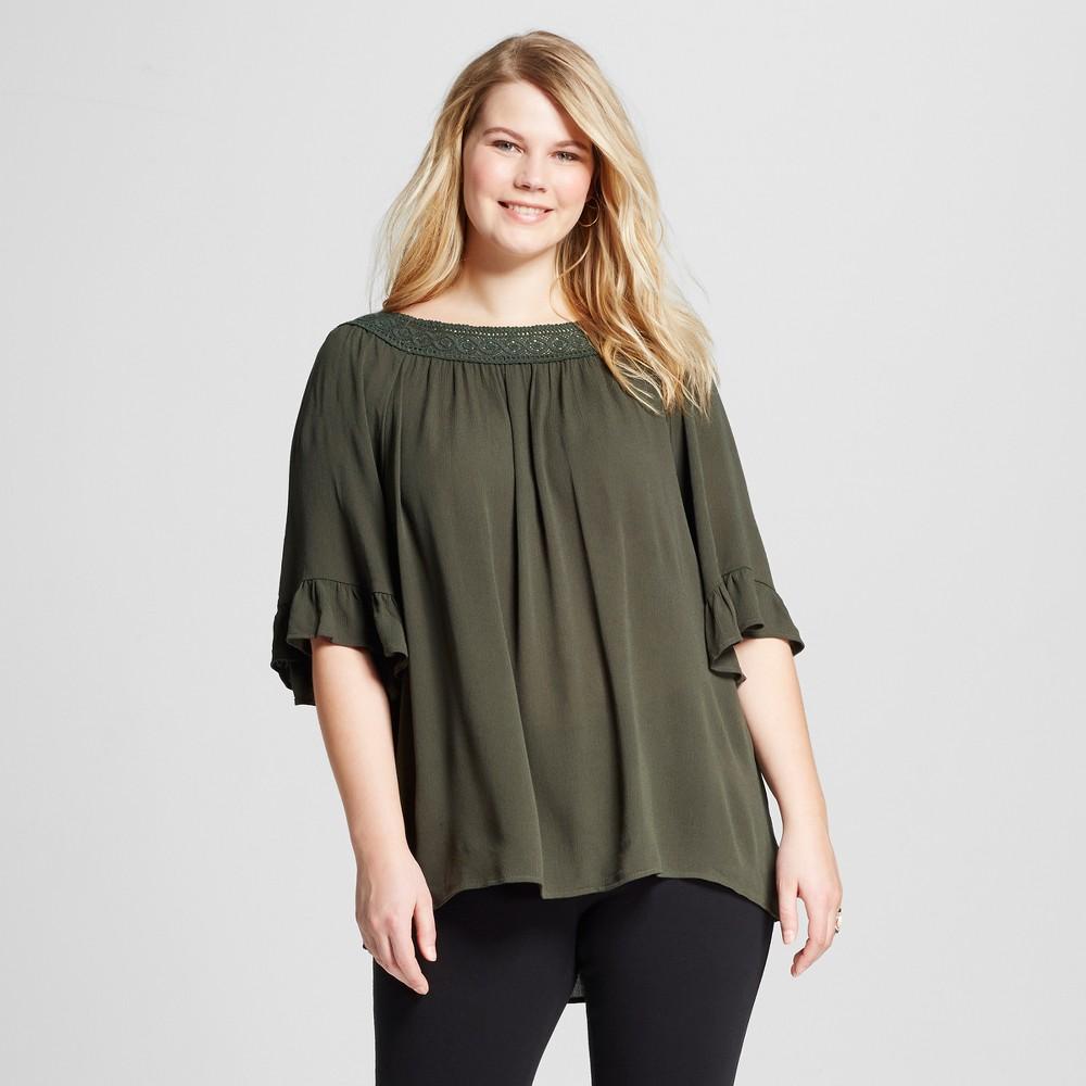 Women's Plus Size Lace Ruffled Top Green 2X – U-Knit
