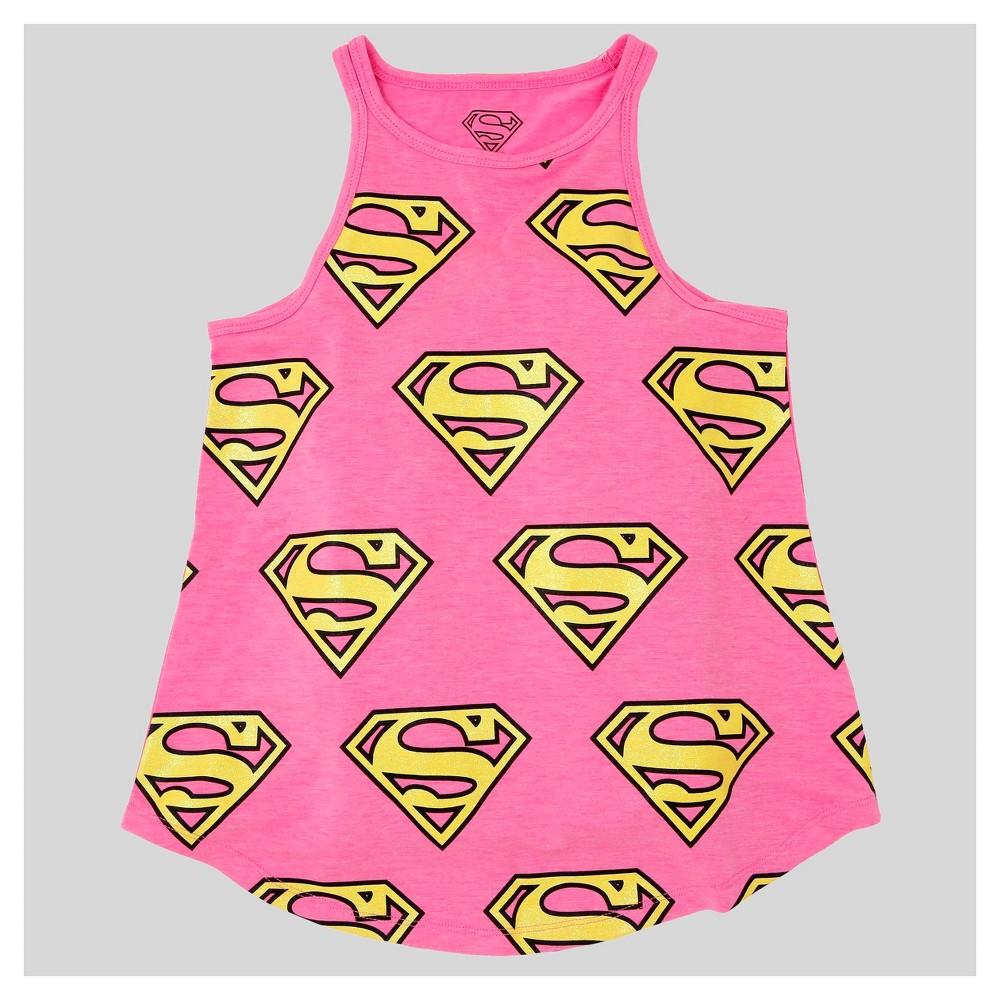 Girls Supergirl Tank Top - Pink L
