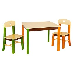 3 Piece Kids Table and Chairs Set - Natural - Guidecraft
