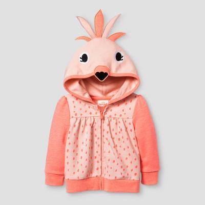 Baby Girls' Flaming Hoodie - Cat & Jack™ Pink 12 Months