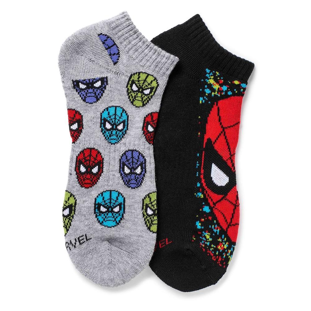 Men's Marvel Spider-Man Athletic Socks Black/Gray - One Size, Blue