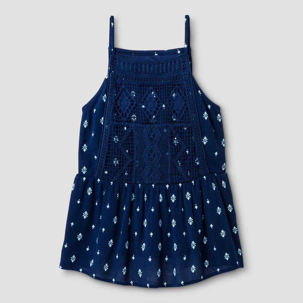 Girls Gauze Tank Top - Art Class Blue L, Size: L(10-12)