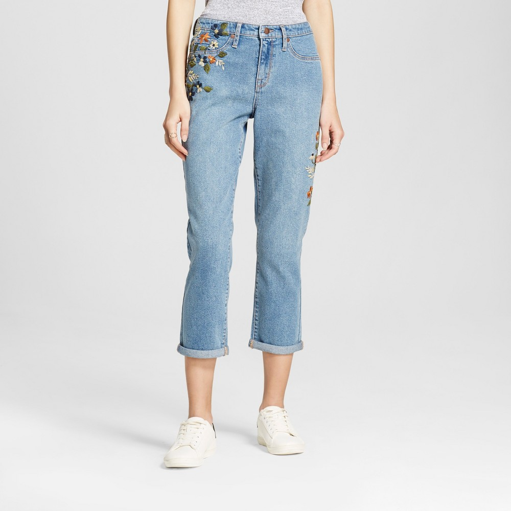 Women's Straight Crop With Floral Embroidery Fashion Pants - Mossimo Light Blue 4