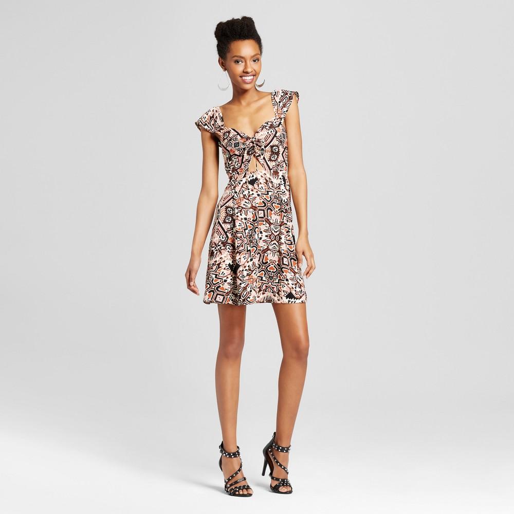 Womens Flutter Sleeve Cutout Dress - Xhilaration (Juniors) Black/White XL