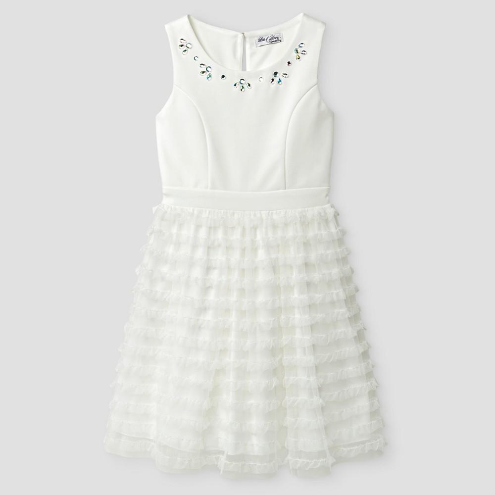 Girls Lots of Love by Speechless Multi Ruffle Dress with Rhinestone Neck - Ivory Cumin 10, Beige