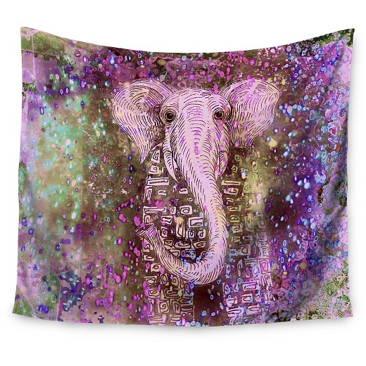 Pink Wall Tapestry elephant sparkle marianna tankelevich pink dust magic wall